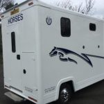 White Horsebox with Graphics Rear View