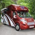 Red and White Horsebox Three Quarter View