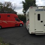 White and Red Horseboxes Rear View