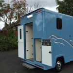 Light Blue Horsebox Rear Doors Open
