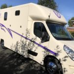 Front View White Horsebox Purple Graphics