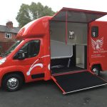 Red Horsebox with Doors Open