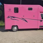Pink Horsebox with Blue Graphics