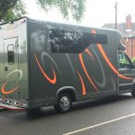 Dark Grey Horsebox with Silver and Orange Graphics