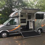 Dark Grey Horsebox with Orange Graphics