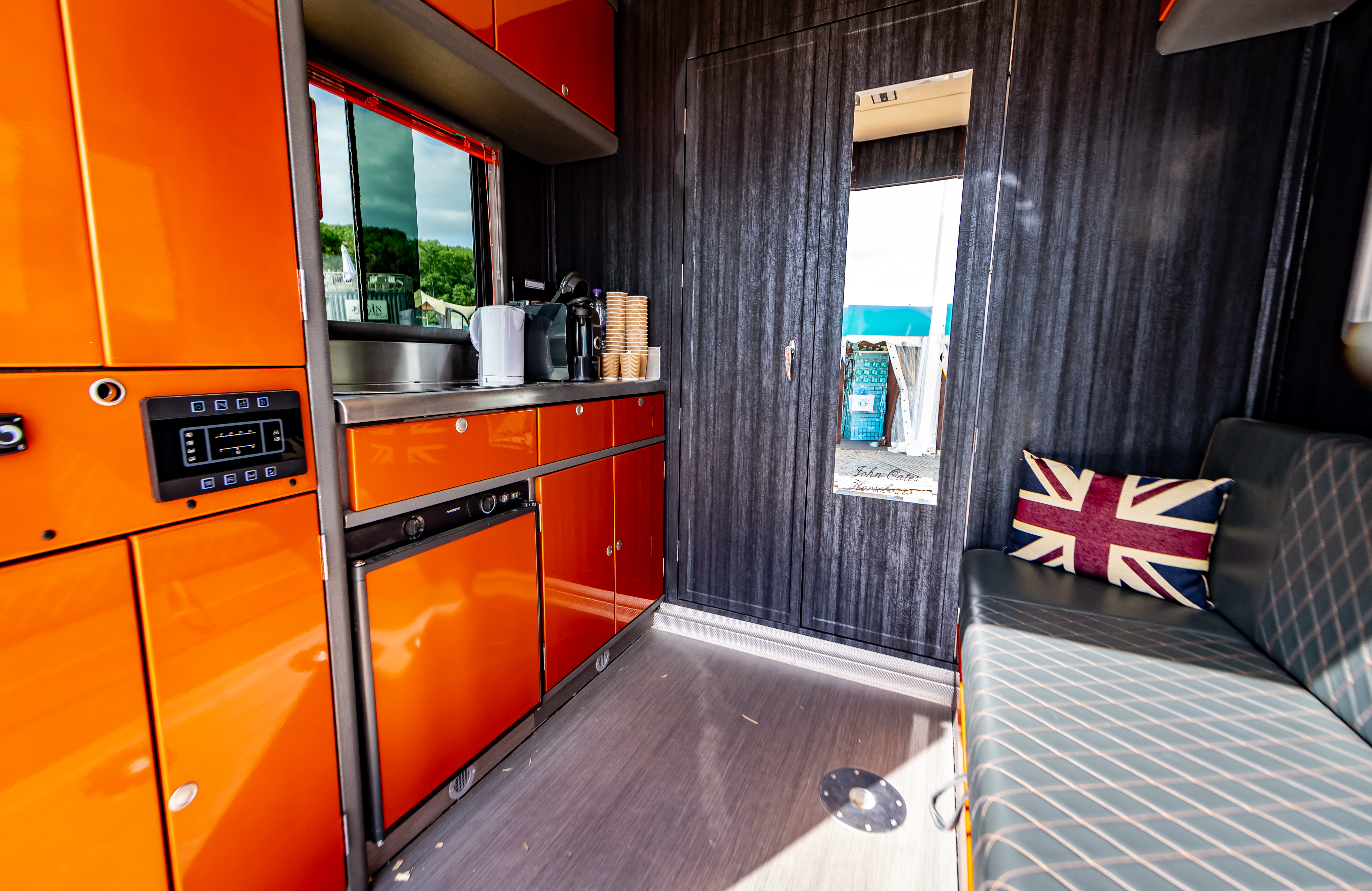 Horsebox Interior with Orange Kitchen