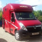 Red Horsebox with Side Door Open